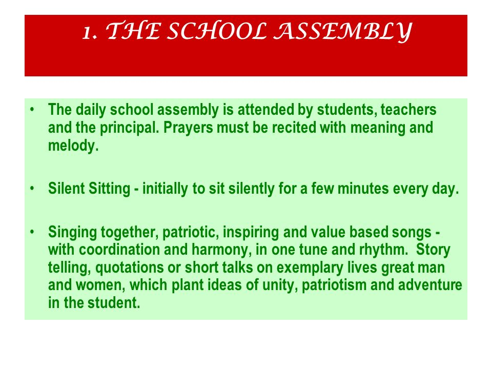 1. THE SCHOOL ASSEMBLY