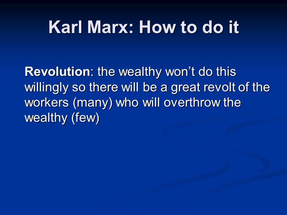 Karl Marx: How to do it