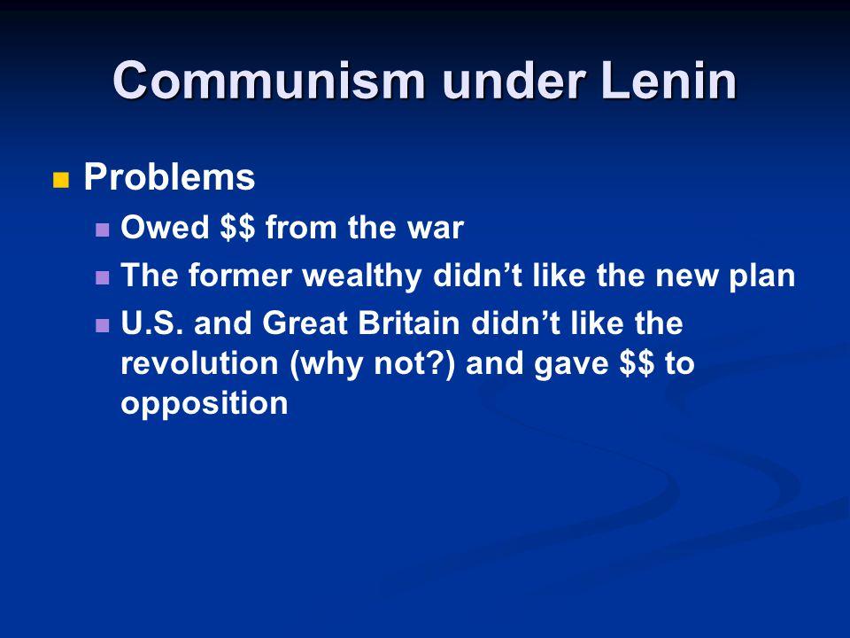 Communism under Lenin Problems Owed $$ from the war