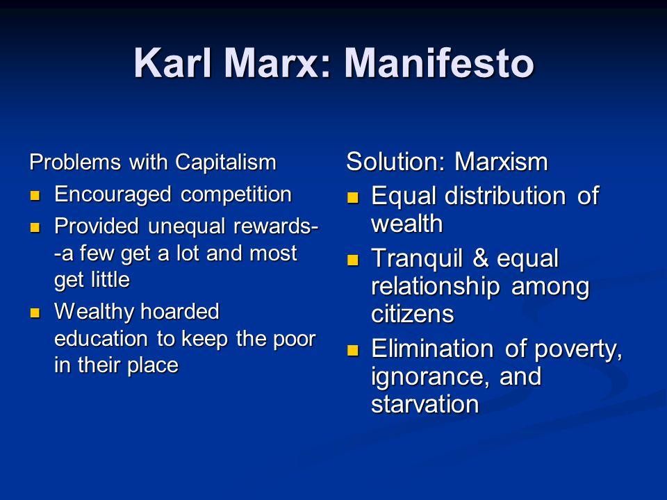 Karl Marx: Manifesto Solution: Marxism Equal distribution of wealth