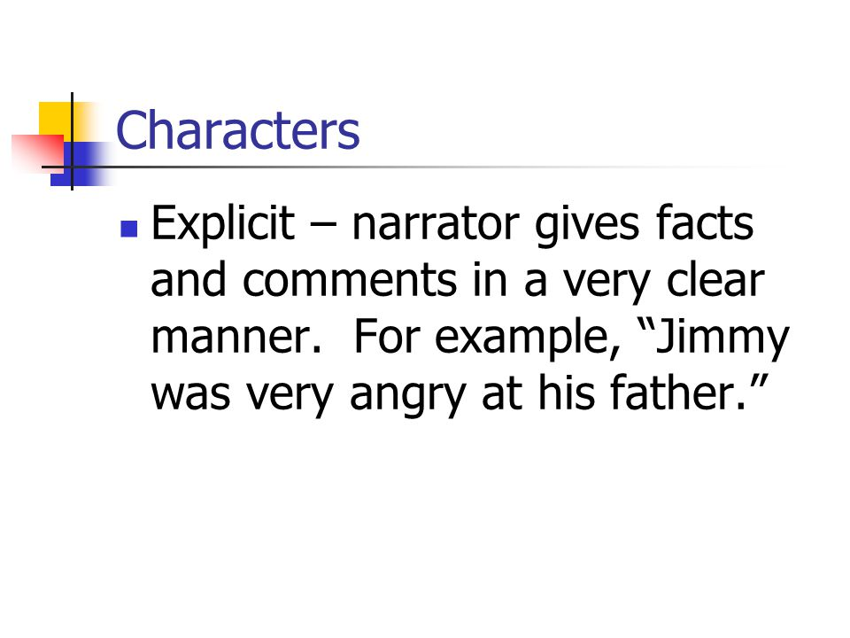 Characters Explicit – narrator gives facts and comments in a very clear manner.