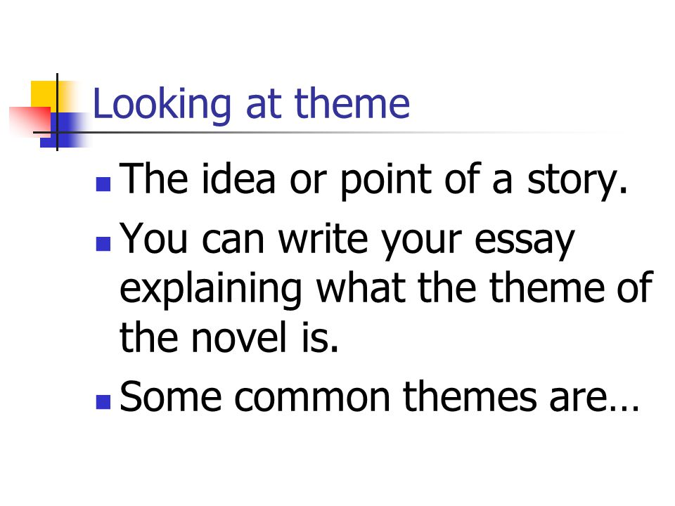 Looking at theme The idea or point of a story. You can write your essay explaining what the theme of the novel is.