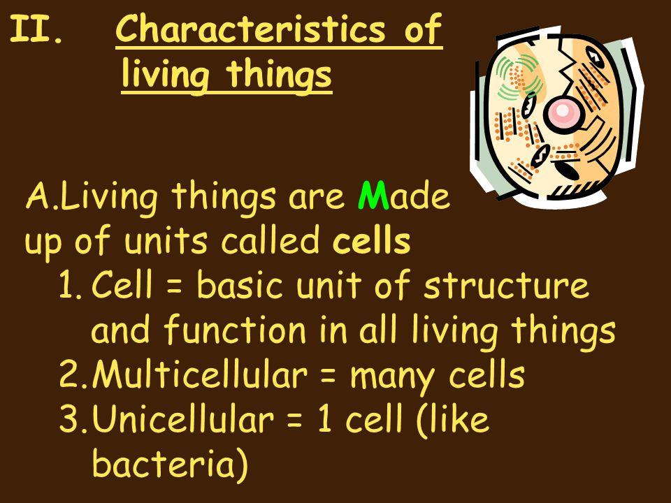 II. Characteristics of living things