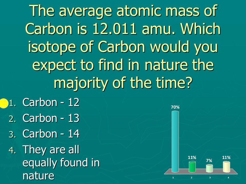 The average atomic mass of Carbon is 12. 011 amu
