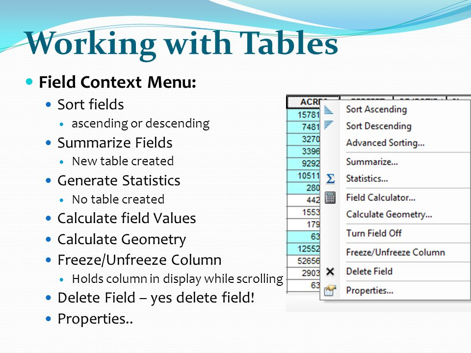 Working with Tables Field Context Menu: Sort fields Summarize Fields