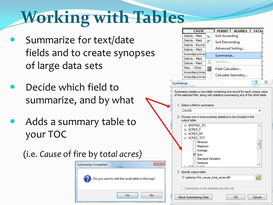 Working with Tables Summarize for text/date fields and to create synopses of large data sets. Decide which field to summarize, and by what.