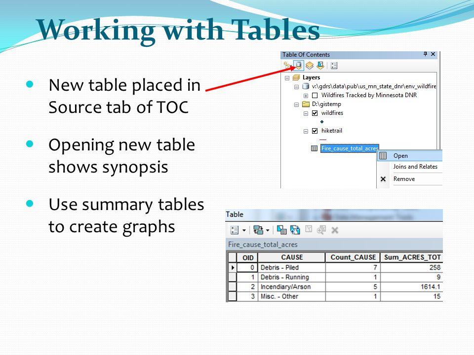 Working with Tables New table placed in Source tab of TOC