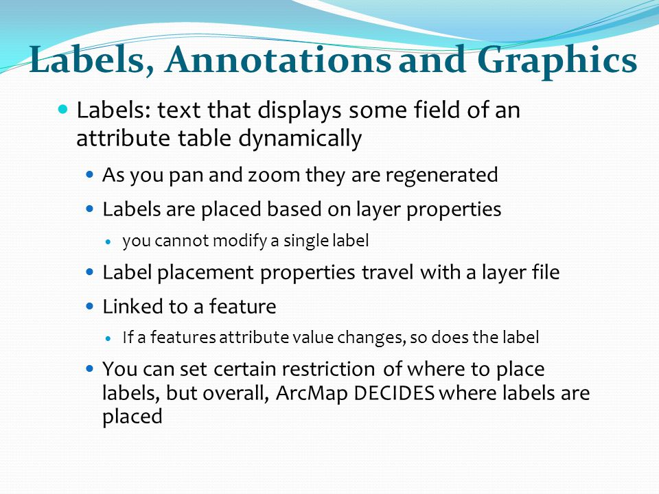 Labels, Annotations and Graphics