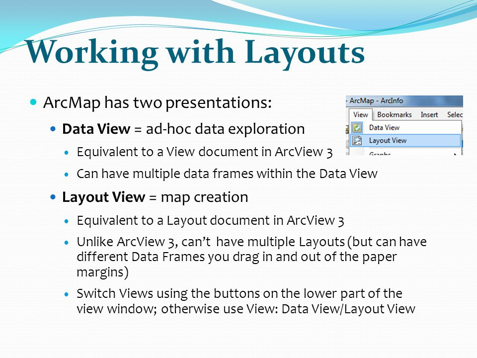 Working with Layouts ArcMap has two presentations: