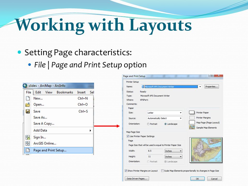 Working with Layouts Setting Page characteristics: