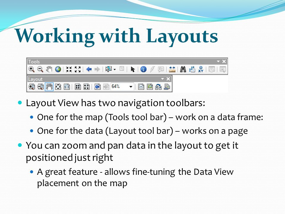 Working with Layouts Layout View has two navigation toolbars: