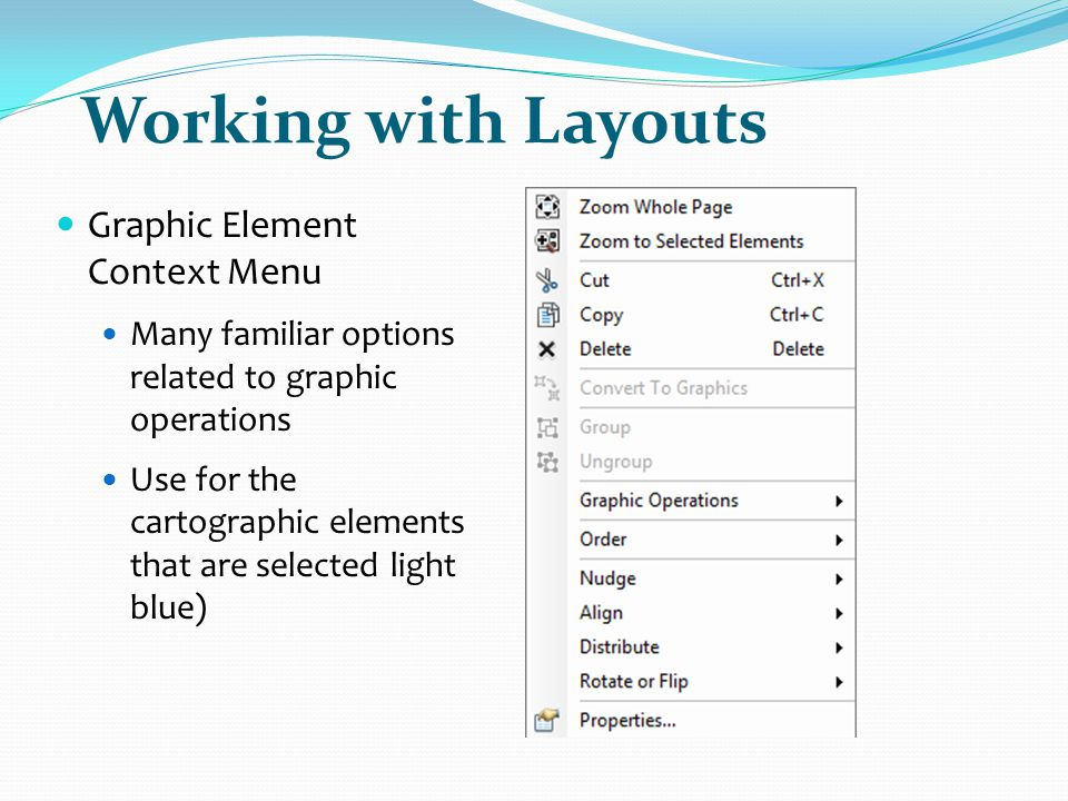 Working with Layouts Graphic Element Context Menu