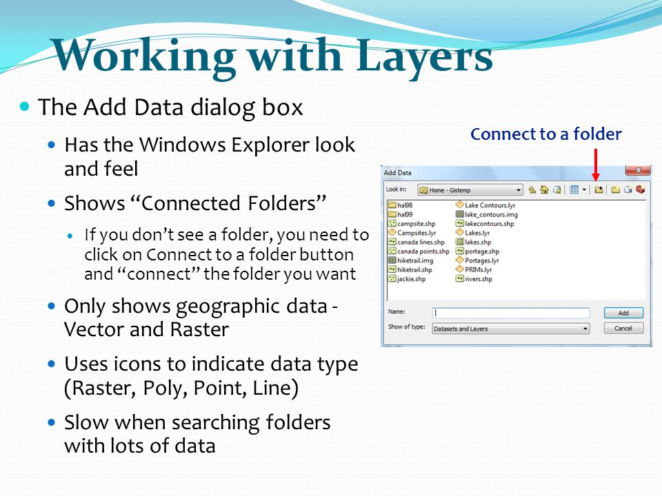 Working with Layers The Add Data dialog box