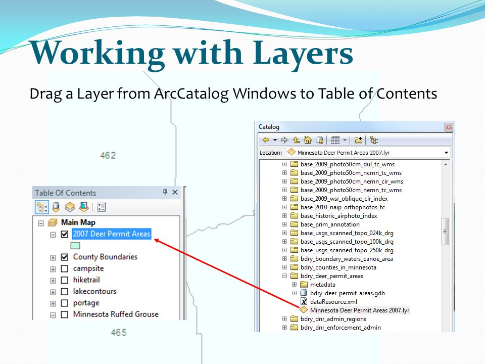 Working with Layers Drag a Layer from ArcCatalog Windows to Table of Contents