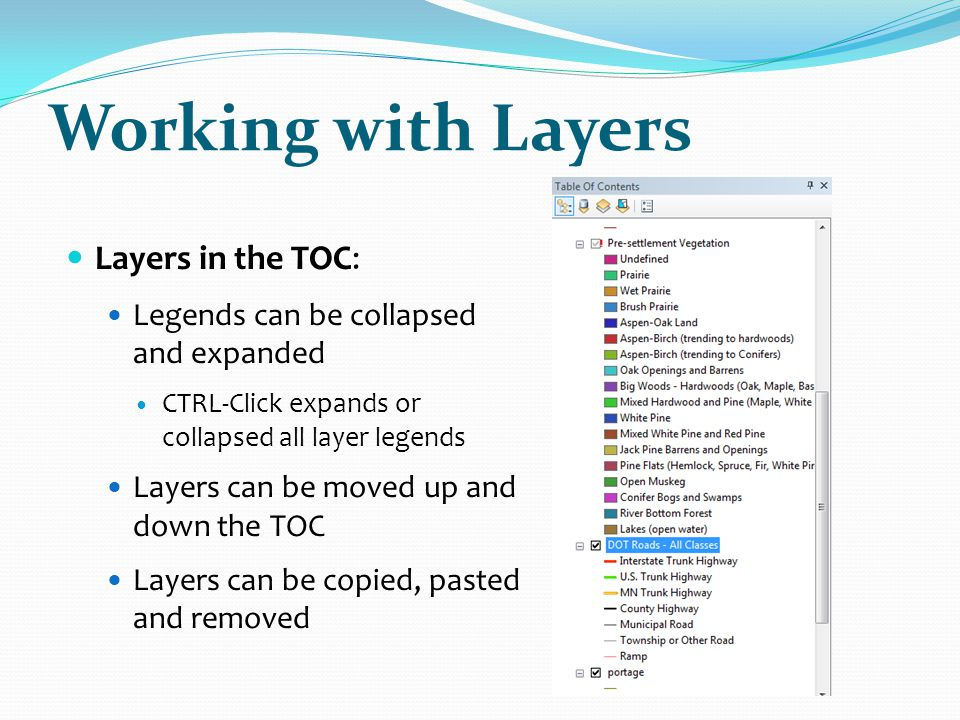 Working with Layers Layers in the TOC: