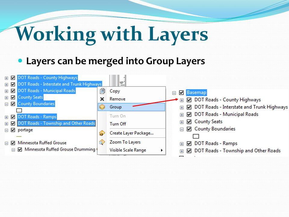 Working with Layers Layers can be merged into Group Layers