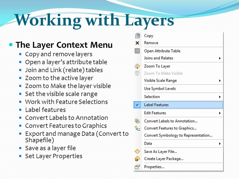 Working with Layers The Layer Context Menu Copy and remove layers