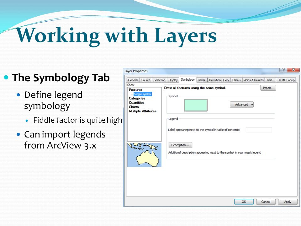 Working with Layers The Symbology Tab Define legend symbology