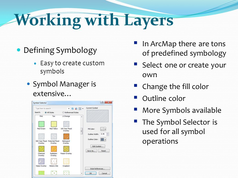 Working with Layers Defining Symbology