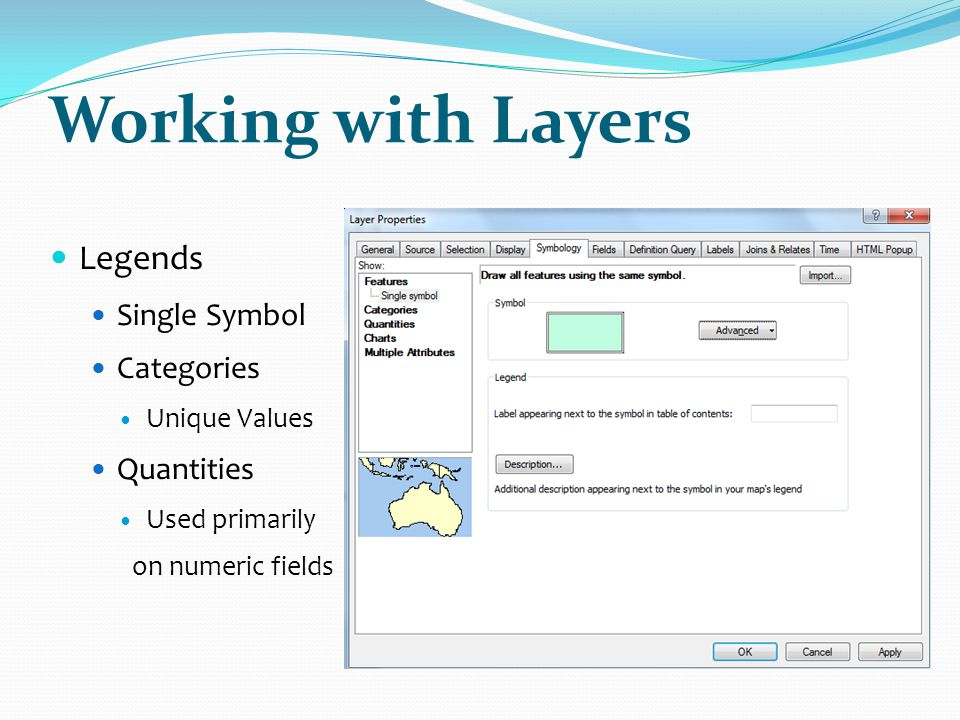 Working with Layers Legends Single Symbol Categories Quantities