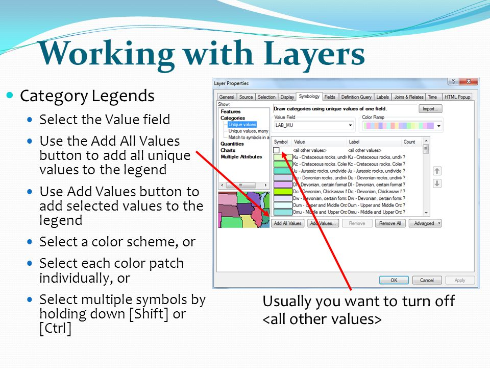 Working with Layers Category Legends