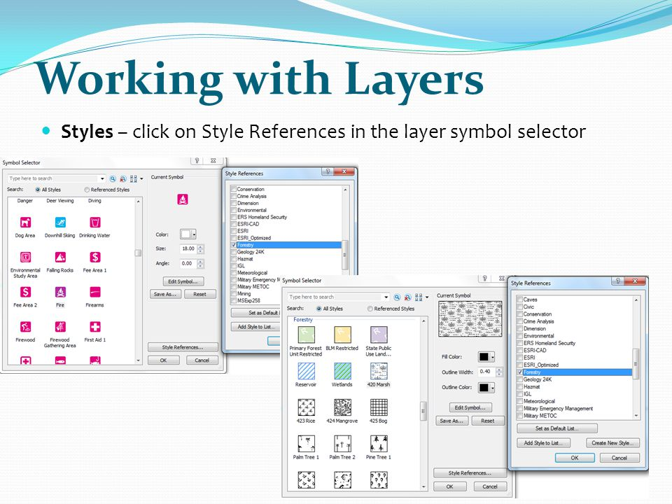 Working with Layers Styles – click on Style References in the layer symbol selector.