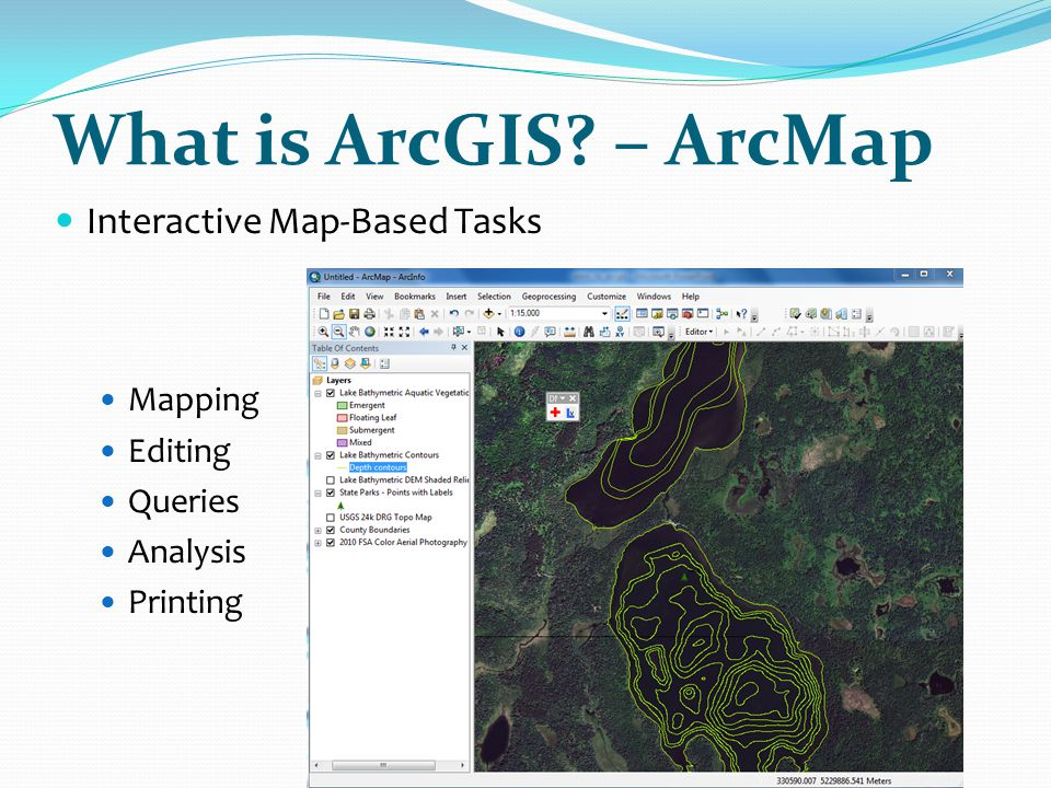 What is ArcGIS – ArcMap Interactive Map-Based Tasks Mapping Editing
