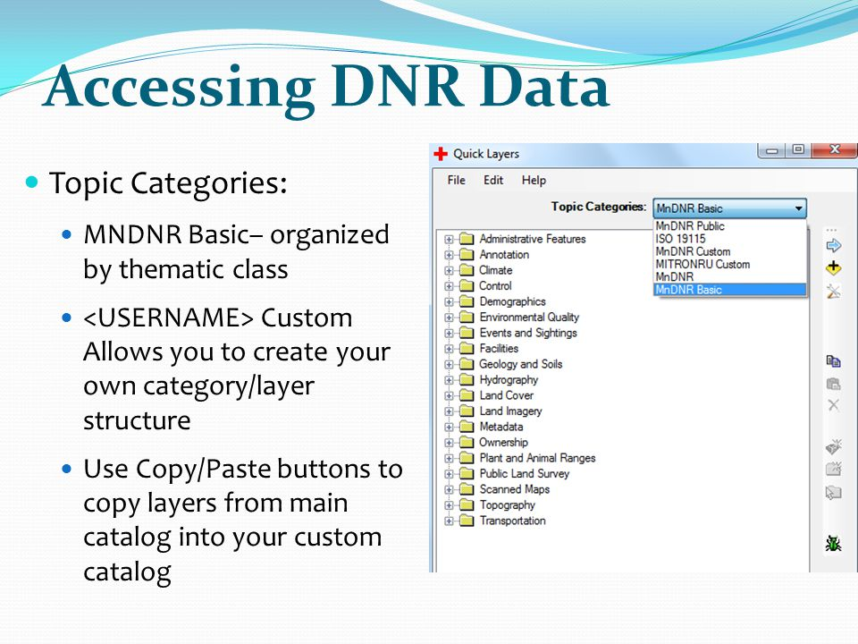Accessing DNR Data Topic Categories: