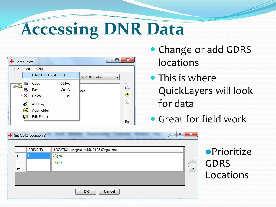Accessing DNR Data Change or add GDRS locations