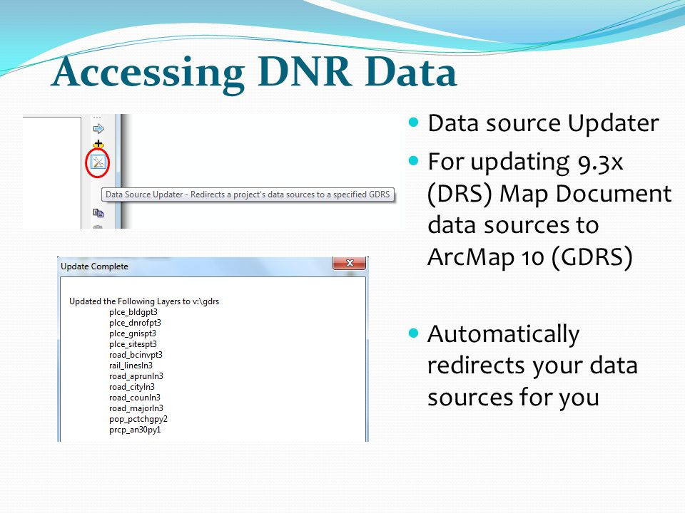 Accessing DNR Data Data source Updater