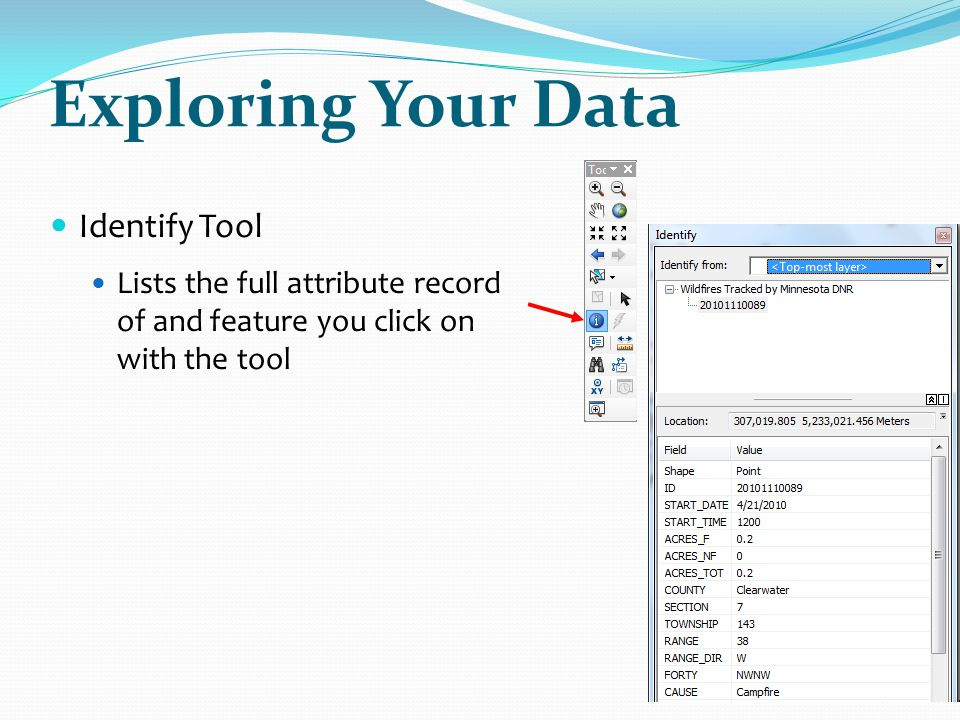 Exploring Your Data Identify Tool