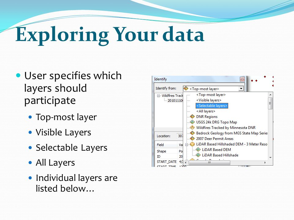 Exploring Your data User specifies which layers should participate