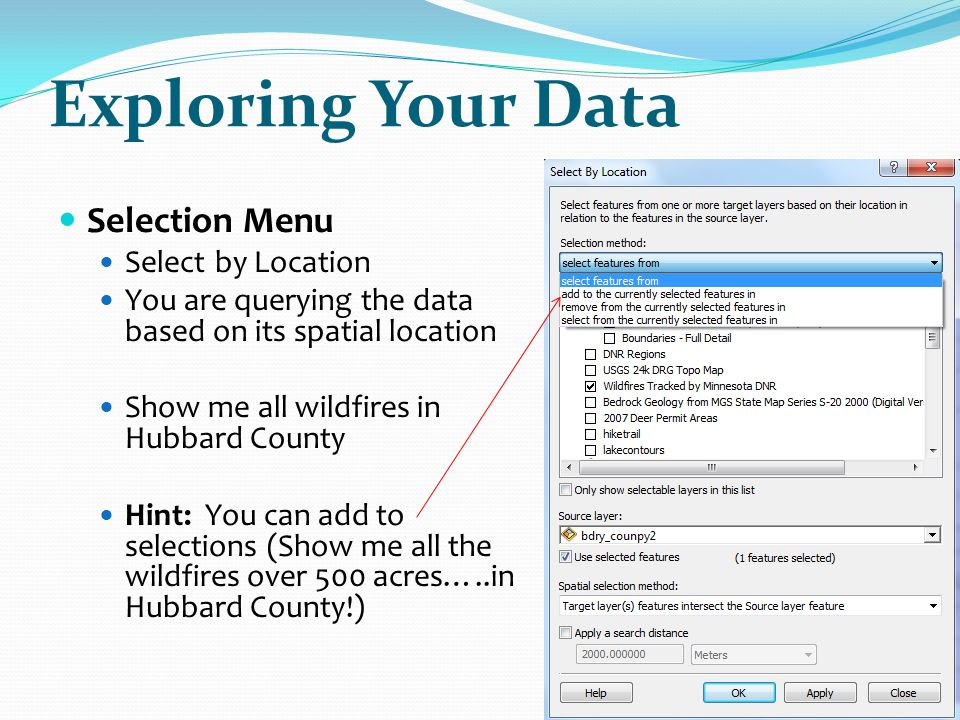 Exploring Your Data Selection Menu Select by Location