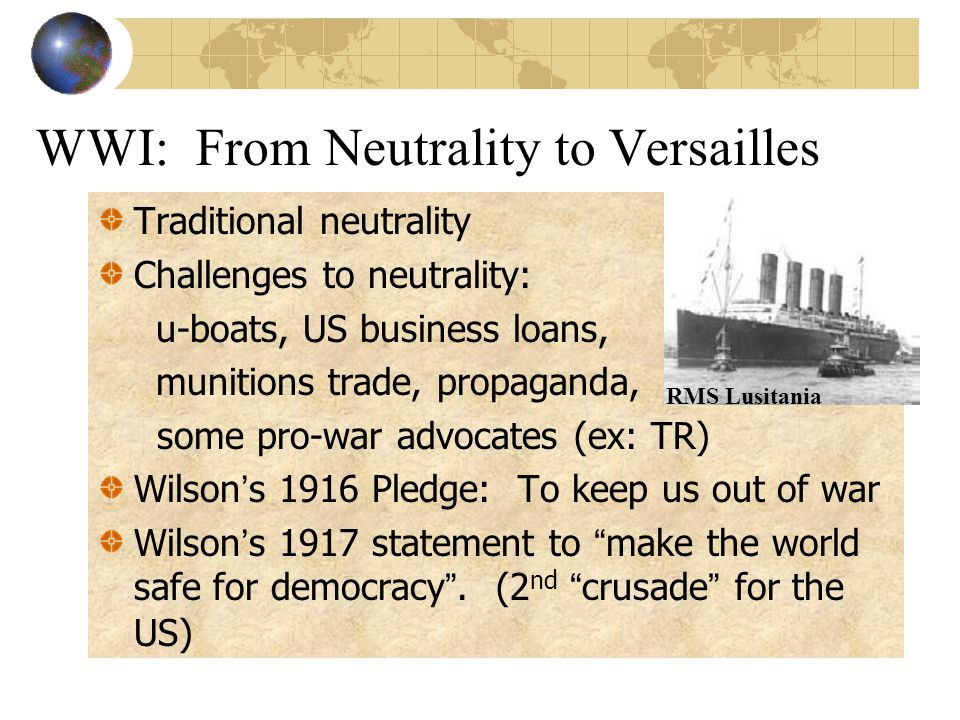 WWI: From Neutrality to Versailles