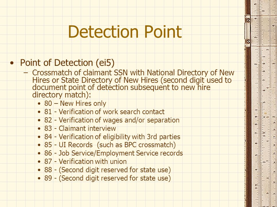 Detection Point Point of Detection (ei5)