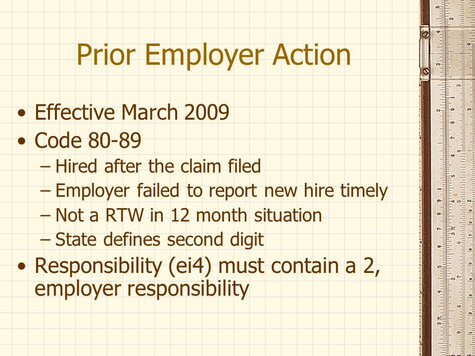 Prior Employer Action Effective March 2009 Code 80-89
