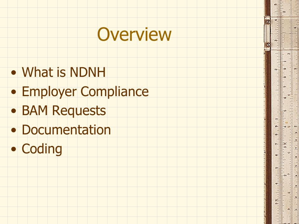Overview What is NDNH Employer Compliance BAM Requests Documentation