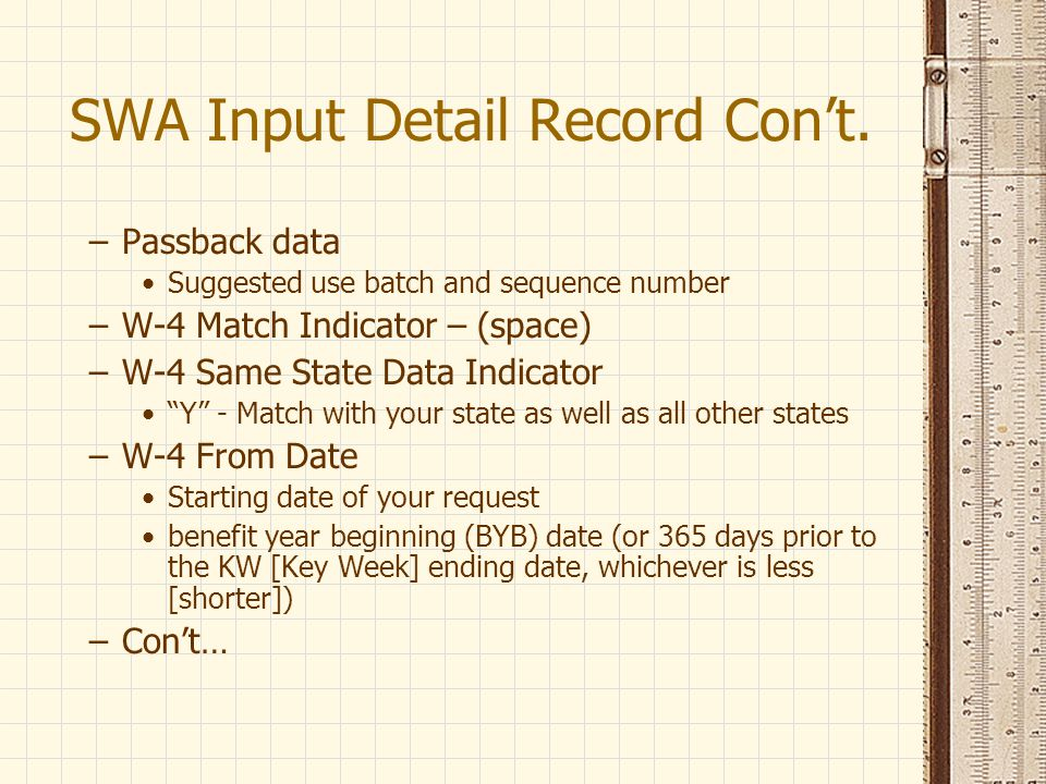 SWA Input Detail Record Con't.