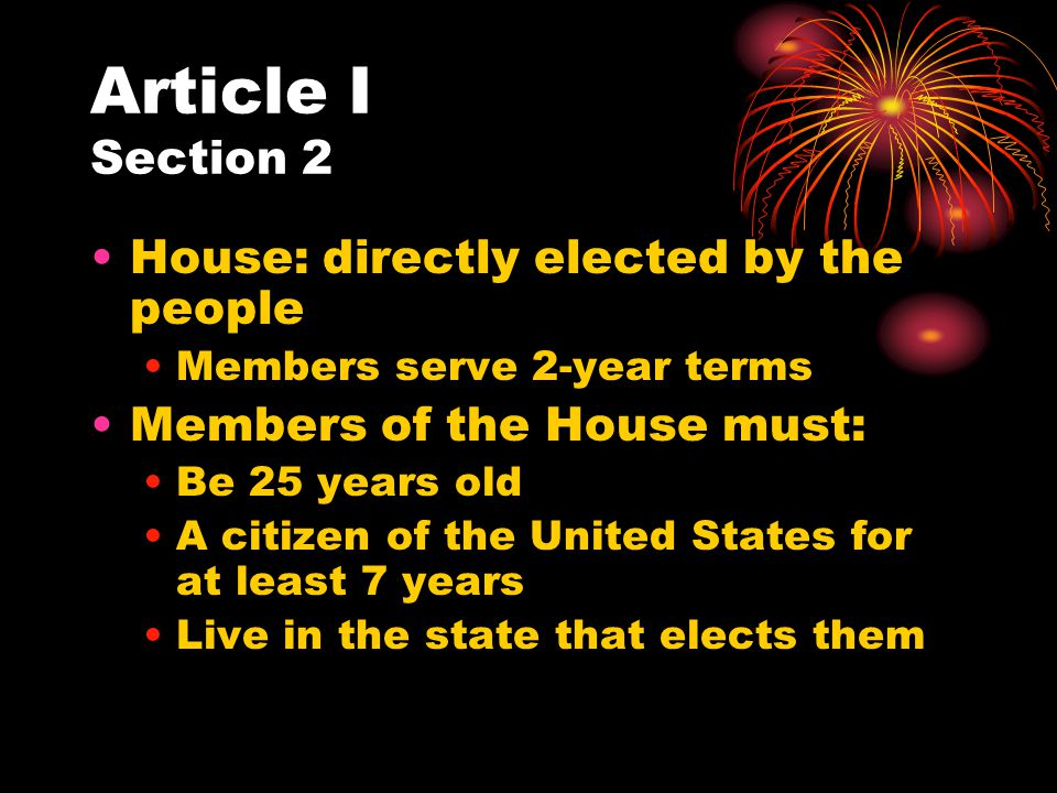 Article I Section 2 House: directly elected by the people