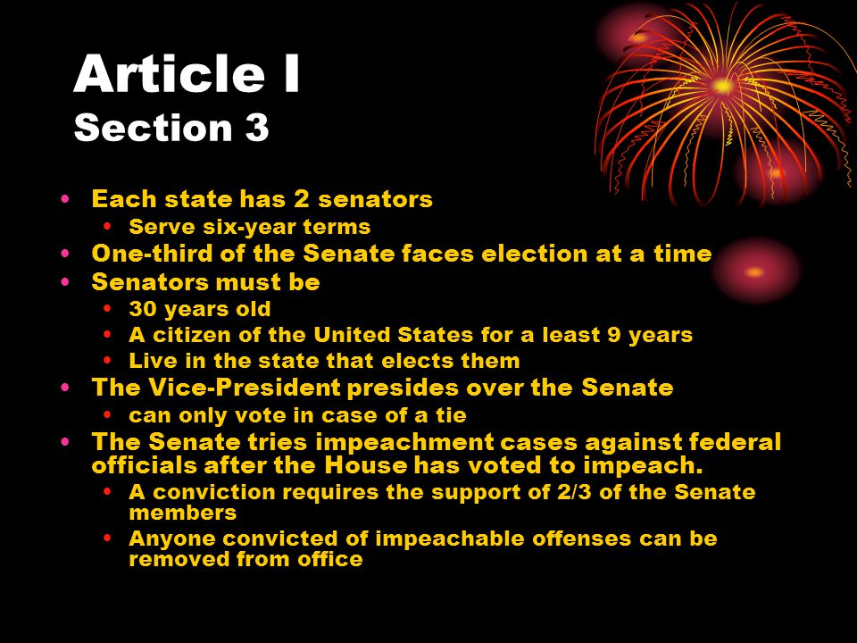 Article I Section 3 Each state has 2 senators