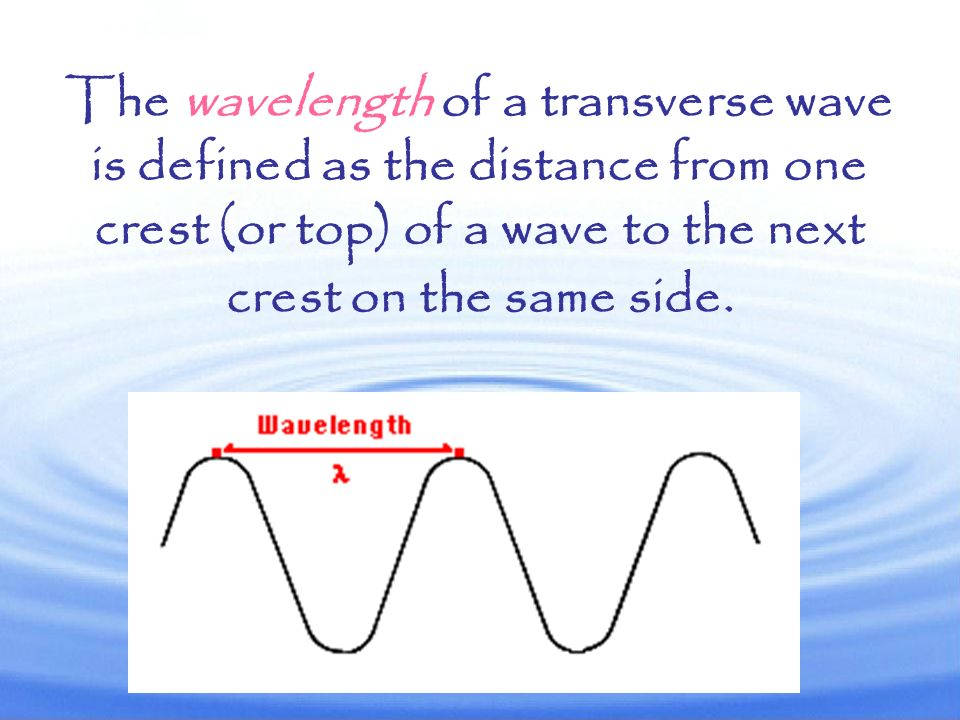 The wavelength of a transverse wave is defined as the distance from one crest (or top) of a wave to the next crest on the same side.