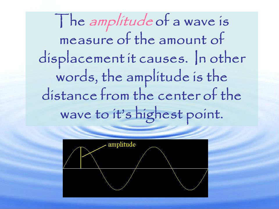 The amplitude of a wave is measure of the amount of displacement it causes.