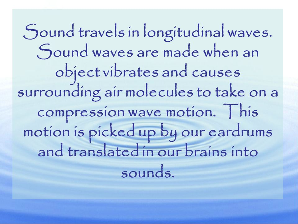 Sound travels in longitudinal waves