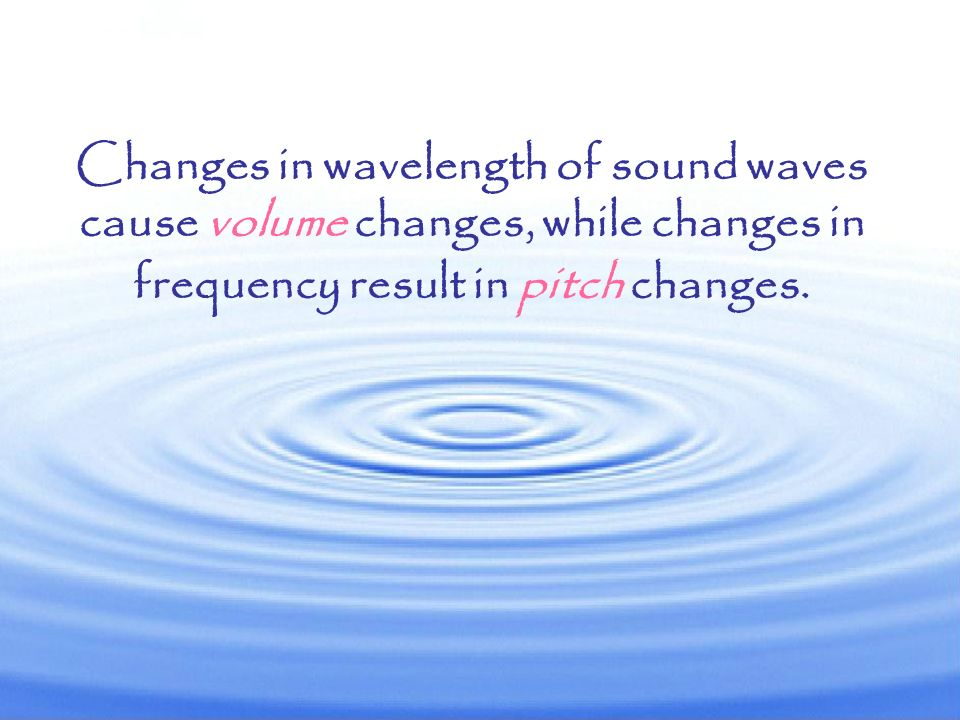 Changes in wavelength of sound waves cause volume changes, while changes in frequency result in pitch changes.