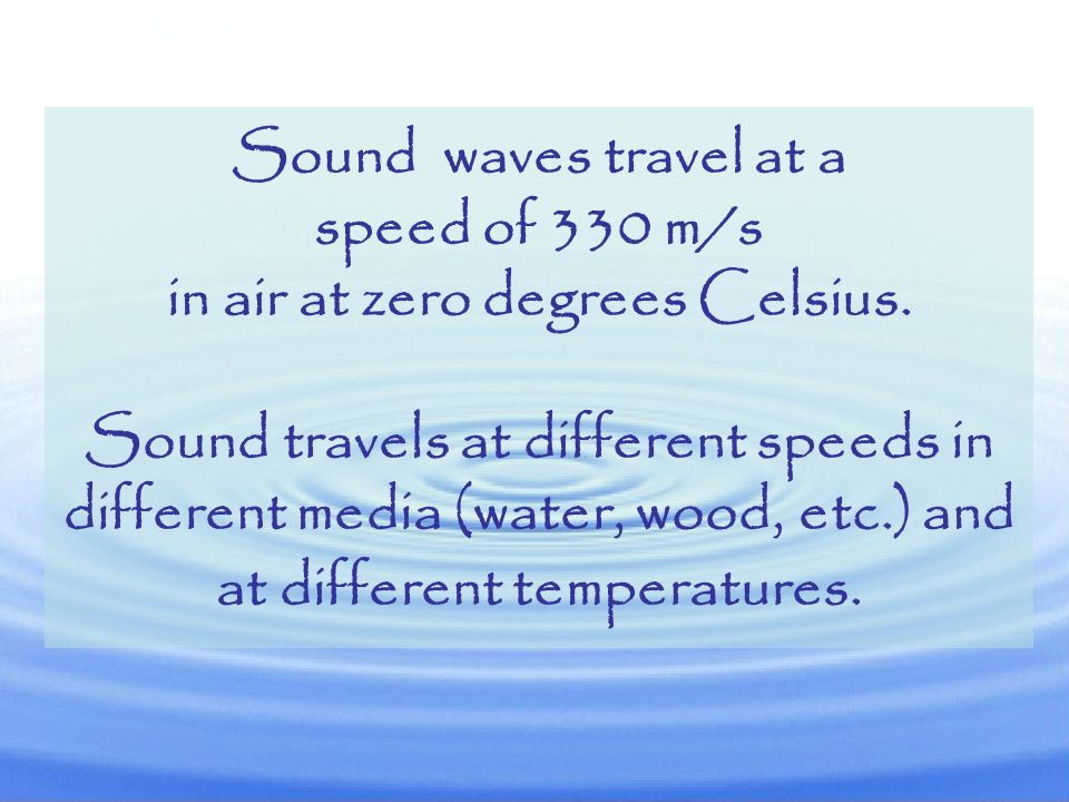Sound waves travel at a speed of 330 m/s in air at zero degrees Celsius.