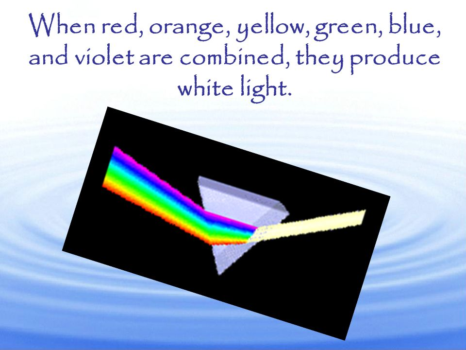When red, orange, yellow, green, blue, and violet are combined, they produce white light.