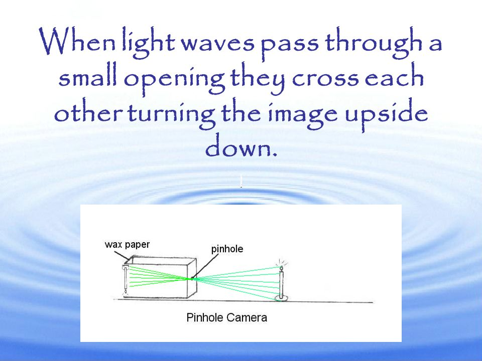 When light waves pass through a small opening they cross each other turning the image upside down.
