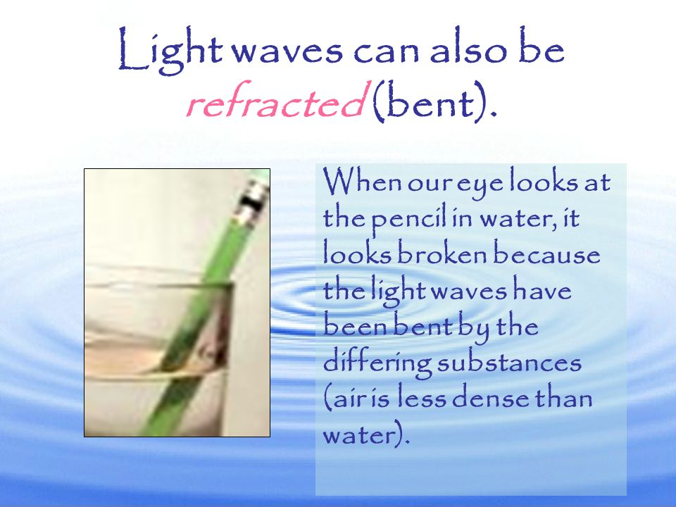 Light waves can also be refracted (bent).