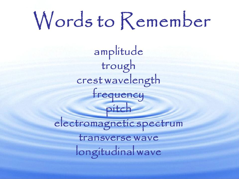 Words to Remember amplitude trough crest wavelength frequency pitch electromagnetic spectrum transverse wave longitudinal wave.