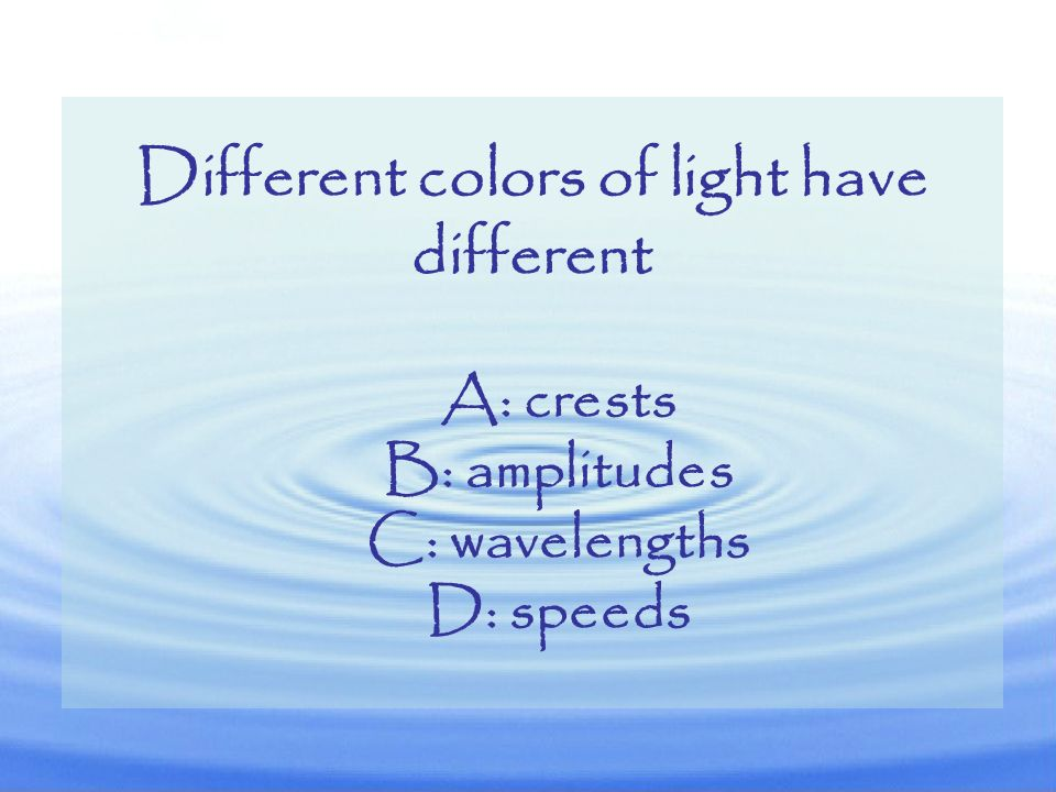 Different colors of light have different
